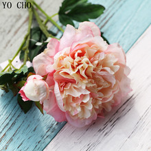 Rose 5 heads artificial silk peony bouquet wedding decoration mariage Bridal Bouquet party Christmas home accessories
