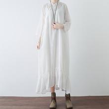 Летний Slik платье Для женщин Стенд воротник Ретро Повседневное Платья для женщин Мода три четверти белый расклешенное платье Famale Сарафан