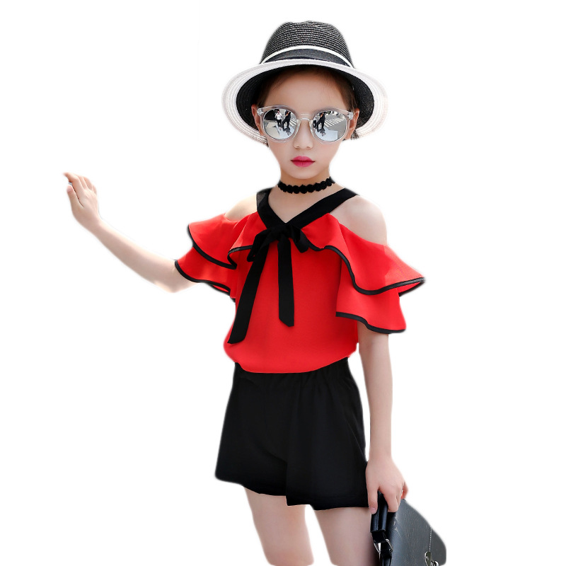 Baby Girls Clothing Set Summer Clothes for Kids 7 8 9 10 11 12 Years Children White Off Shoulder T Shirt Girls Shorts Sets vimikid summer style baby girls clothing set cartoon t shirt pant skirt 2pcs set children clothes set 2 8 years k1