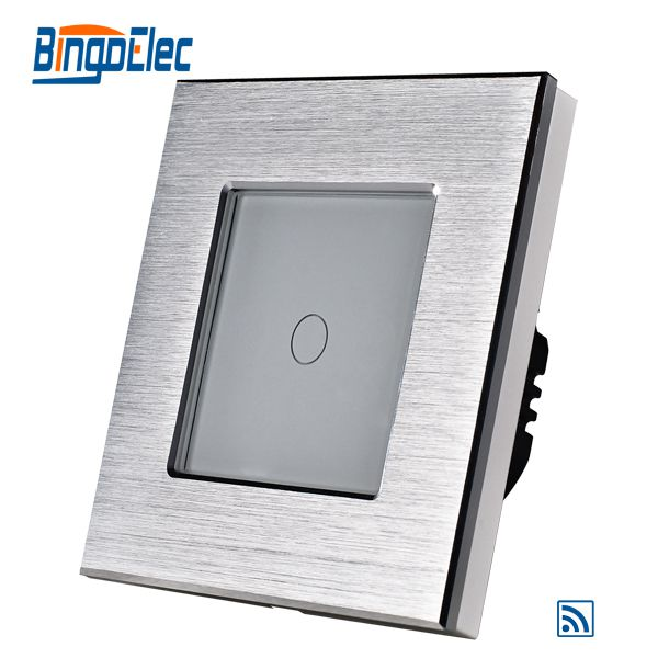 Hot Sale Silver Aluminum Frame White Glass Panel 1gang 1way Remote Wall Switch Touch Screen Switch Remote Control On Off Switch smart home us black 1 gang touch switch screen wireless remote control wall light touch switch control with crystal glass panel