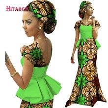 2017 African Dresses for Women Vestidos Kanga Clothing Dashiki Wax Print Splice Draped Accessory Clothes WY1240