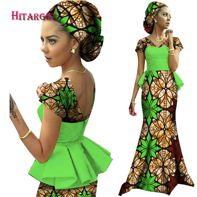 9d0e24b9ff31 2019 African Dresses for Women Vestidos Kanga Clothing Dashiki African Wax  Print Splice Draped Accessory Dresses Clothes WY1240