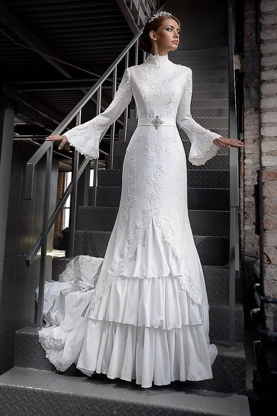Vintage 1960s Long Full Bell Sleeves High Neck Chiffon Celtics Temple Wedding Dresses Gowns Bridal Vestido De Noiva In From Weddings