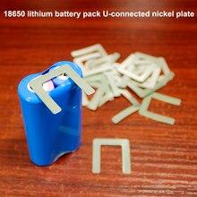 Unids/lote de 100 baterías de litio de acero inoxidable en forma de U, batería de litio chapada en níquel, pieza de unión soldada con punto 4P