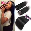 Brazilian Straight Hair with Closure Rosa Hair Products with Closure 3PCSBrazilian Virgin Hair Straight with Closure Human Hair