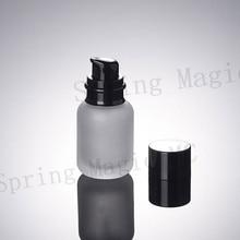 200 Uds 50ML botellas de vidrio esmerilado con grano de madera/tapa blanca/negra bomba portátil loción botella de vidrio envases cosméticos vacíos