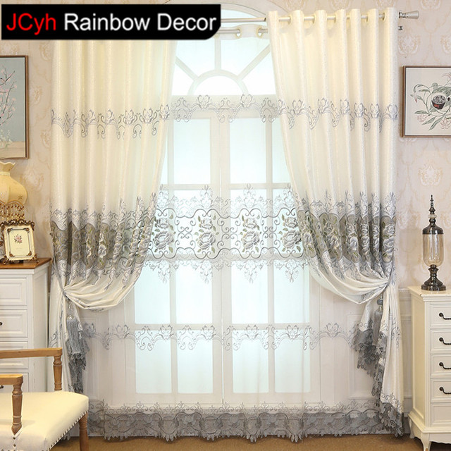 JRD Peony Blackcout Curtain Fine Embroidered Floral Curtains Tulle For Living  Room Blinds Bedroom Sheer Curtain