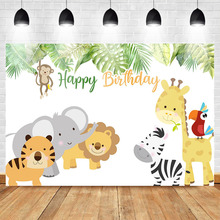 цены на Mehofoto Baby Newborn Birthday Party Photography Backdrops Jungle Safari Photography Background Cartoon Animals Photo Background  в интернет-магазинах