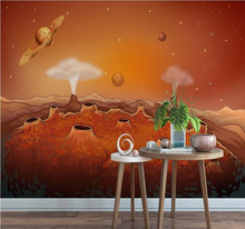Custom wallpaper cartoon starry alien space background wall decoration waterproof material
