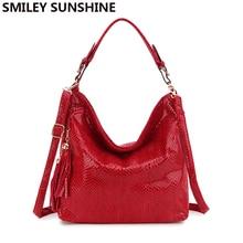 SMILEY SUNSHINE serpentine leather women bags big crossbody shoulder bags female hobo tote top-handle bag purses and handbags