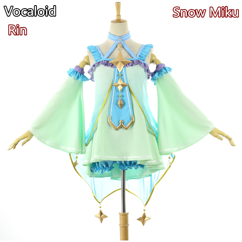 Anime! Vocaloid Snow Miku Kagamine Rin Lovely Lolita Dress Uniform Cosplay Costume For Women Free Shipping цены