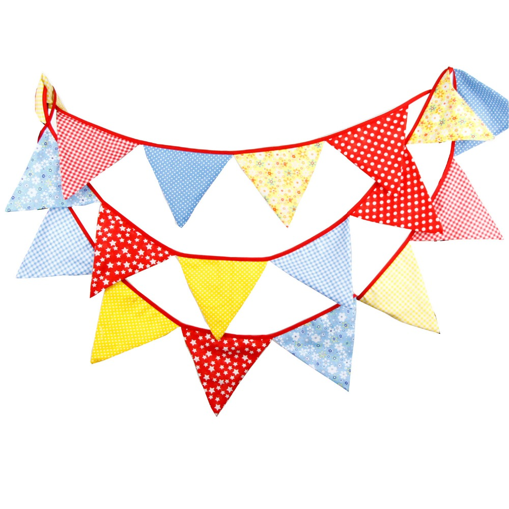 Banners For Bedrooms: 18Flags 4.3M Cotton Fabric Bunting Birthday Party