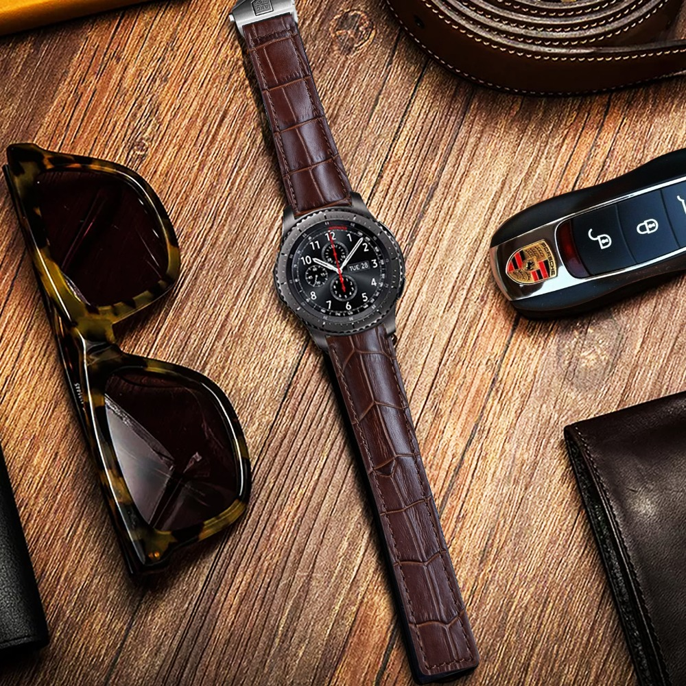 AKGLEADER 20 22mm Leather Strap For Samsung Gear S3 Sport Gear S2 Genuine Leather Watch Band For Huami Amazfit For Huawei Watch in Watchbands from Watches