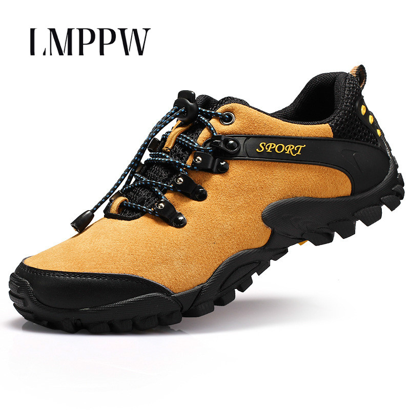 2018 Newly Spring Man Leisure Shoes Breathable Outdoor Sneakers Non slip Wear Men Pig Suede Leather Flat Shoes Men Trainers 2A in Men 39 s Casual Shoes from Shoes