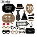 Lincaier 20 Unidades Hombre Mujer estilo 30 Años 30o Cumpleaños Máscara De Cristal Photo Booth Atrezzo Bigote Divertido Del Partido Suministros de Decoración