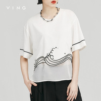 VING 2017 Summer T-Shirt Embroidery Weave Pattern See-Trought Patchwork Loose O-Neck Patchwork Chiffon