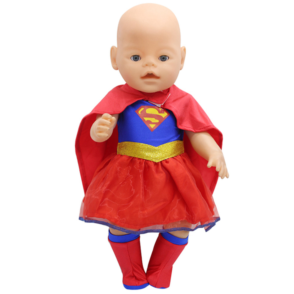 Doll Clothes Superman and Spider-Man Cosplay Costume Doll Clothes for 18 inch American Dolls& 43cm zaps baby dolls born american girl doll clothes ears and tail tiger leopard sets doll clothes with shoes free for 16 18 inch dolls 3 colors mg 262
