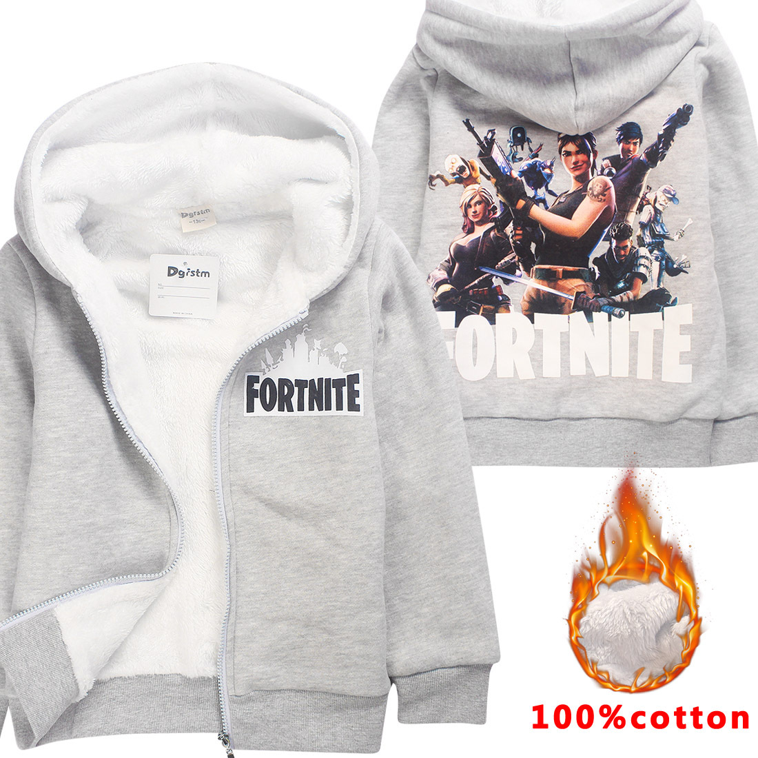 Game Fortnite Winter Wool Blends Zipper Warm Jacket Cashmere Coats Hooded Children Girls Boys Jacket Kids Clothes Outwear Coat