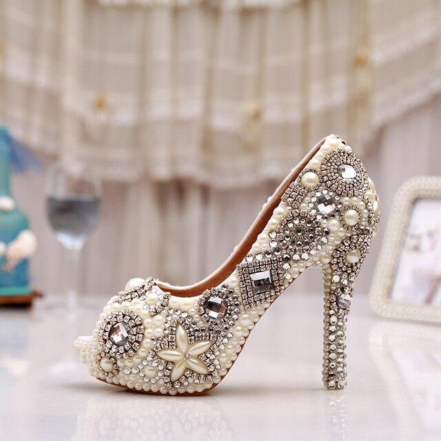 2d53d8983e9f40 Handmade Ivory Glitter Diamond Wedding Party Prom Heels Rhinestone Peep Toe  Pumps Women Pearl Crystal Bridal Shoes