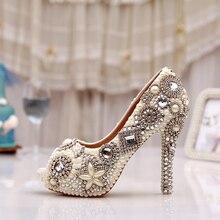Handmade Ivory Glitter Diamond Wedding Party Prom Heels Rhinestone Peep Toe Pumps Women Pearl Crystal Bridal Shoes