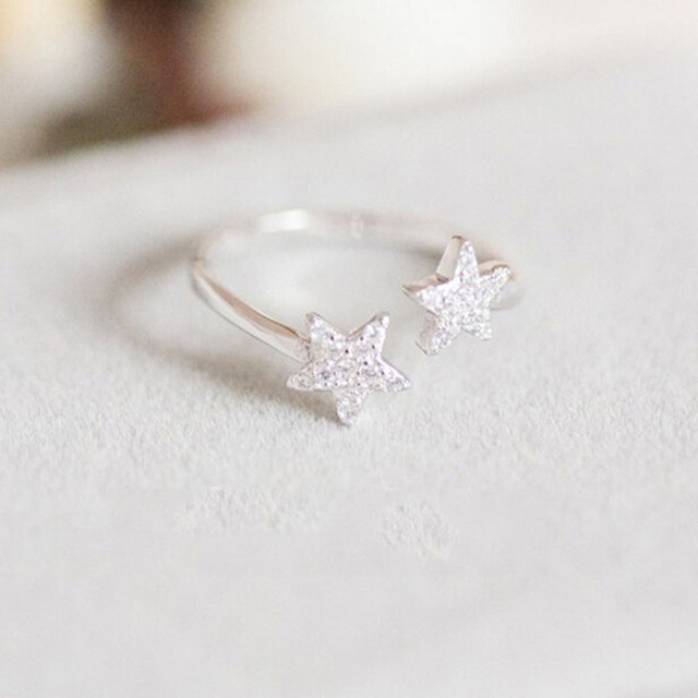 925 Sterling Silver Wedding Rings For Women Adjule Double Little Cute Star With Crystal Opening Ring