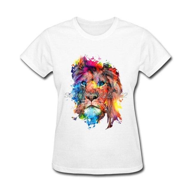 1e0b7555988 ... Mujer Caliente La Venta Camisetas Muchacha Tops. Colorful Lion T Shirt  Ladies Harajuku Cool Tshirt Woman Hot Sale T Shirts Girl Designs Kawaii