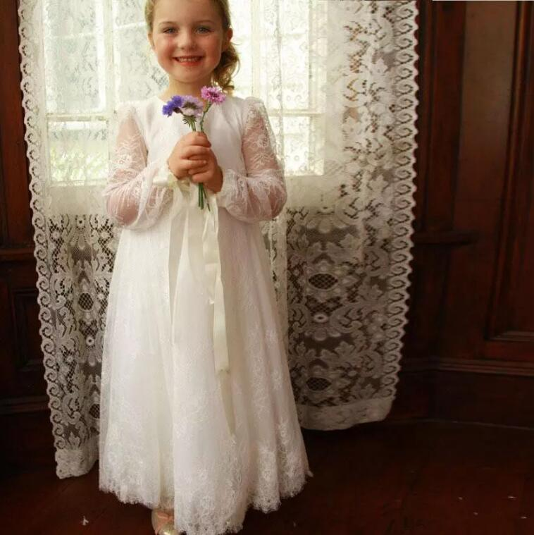 White Ivory Lace Long Sleeve Flower Girls Dresses for Wedding Girls Birthday Party Gown Custom Made Any Size two pieces white ivory sheer long sleeves lace flower girl dresses beautiful wedding party mermaid gowns for kids custom made