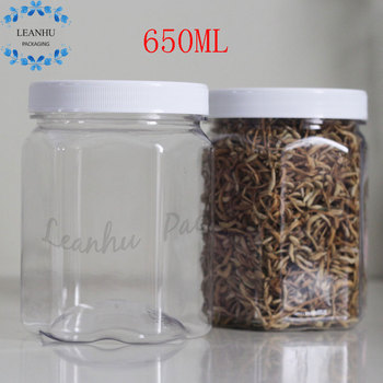 Clear Plastic Food Packaging Sealing Cans,Empty Nuts,Candy Jar,Food Containers,650ml Refillable  PET Bottle With White Screw Cap