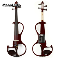 4/4 Red Violin Electric Violin Fiddle String Instrument Ebony Fittings Cable Headphone Case for Music Amateurs and Beginners
