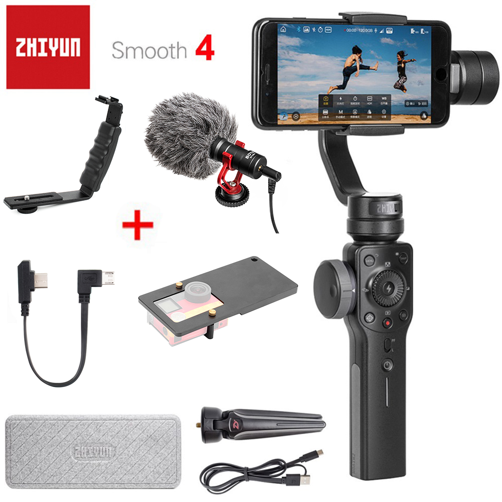 Zhiyun Smooth 4 3-Axis Handheld Smartphone Gimbal Stabilizer VS Zhiyun Smooth Q Model for iPhone X 8Plus 8 7 6S Samsung S9 S8 S7 zhiyun smooth q 3 axis handheld gimbal stabilizer for smartphone