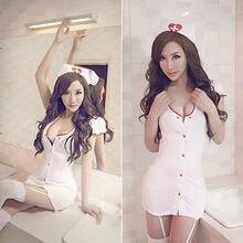 Sexy Women White Nurse Uniform Temptation  Costume Cosplay mini dress