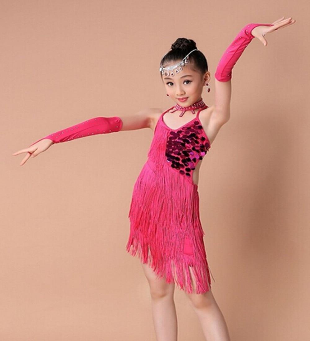 Free shipping 100-160cm rumba latin dance dress tango samba tassels red rosy green competition professional girl child costume