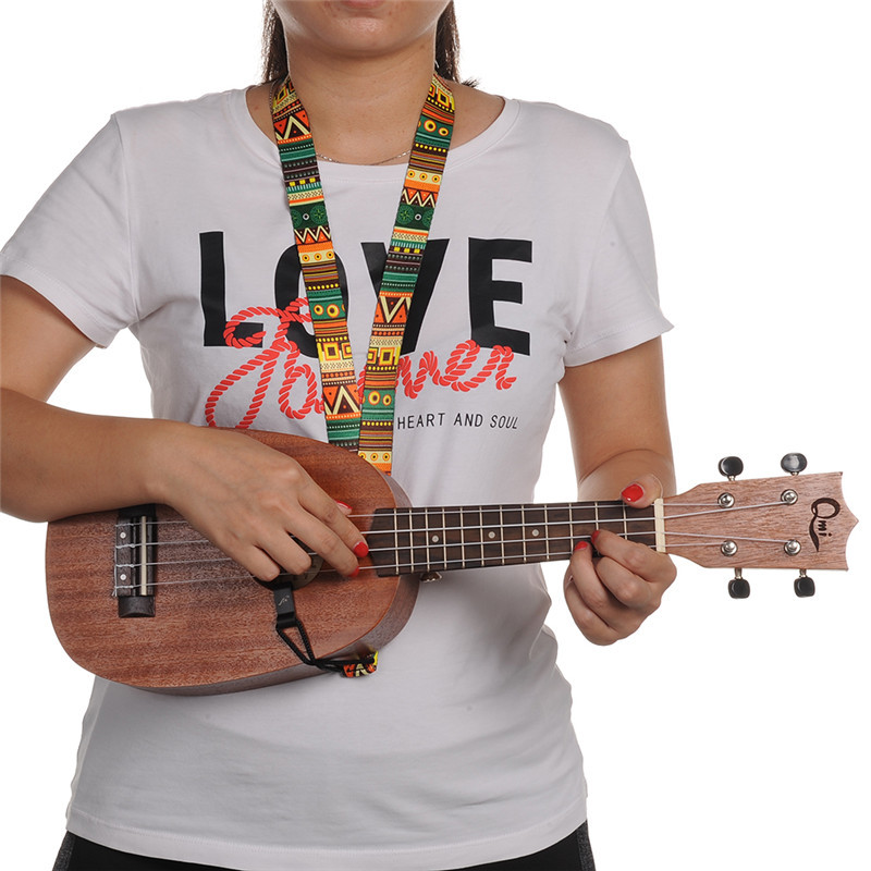Ukelele Neck Strap Printed Adjustable Soft strap Belt Straps Rope for Ukulele National Style Ukulele Strap For 17,21,23,26 inch