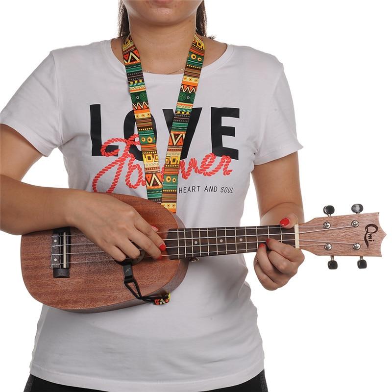 רצועת צווארה Ukelele מודפס רצועה מתכווננת רצועה חגורה רצועות חבל עבור Ukulele הלאומי סגנון רצועה Ukulele עבור 17,21,23,26 אינץ '