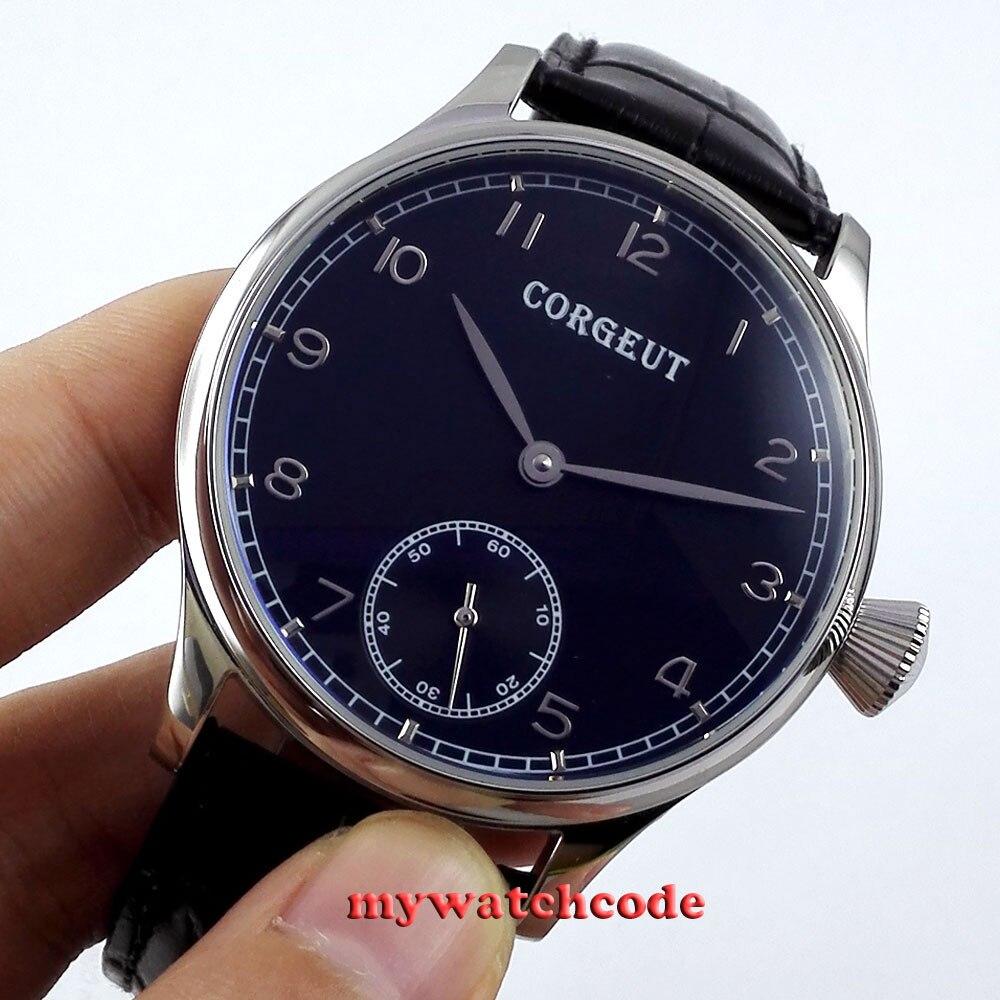 где купить 44mm Corgeut black dial leather 6498 hand winding movement mens wrist watch C3 по лучшей цене