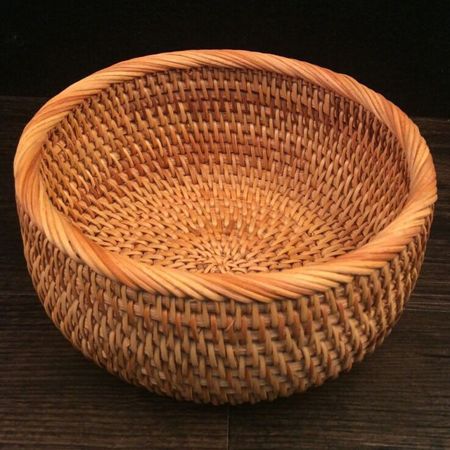 Home Organization Rattan Storage Basket Table Rattan Fruit Basket Handmade  Candy Snacks Dried Fruit Nut Bowls