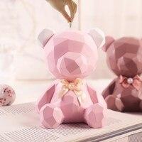 Nordic creative bear bank abstract bear figurine birthday gifts for girls money bank bank money box cash box deposit box
