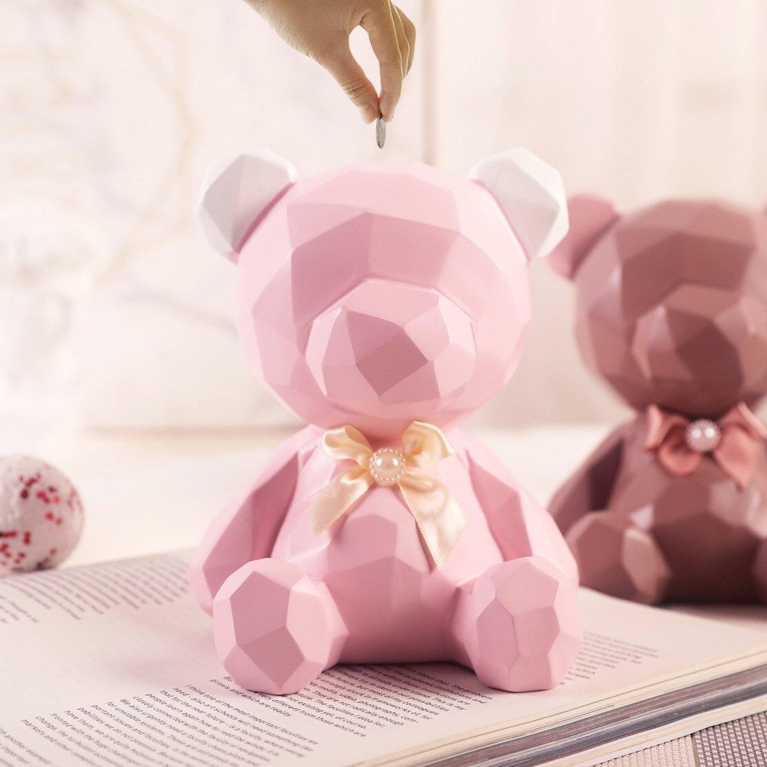 Nordique creative ours banque abstraite ours figurine d'anniversaire cadeaux pour filles tirelire banque tirelire caisse boîte de dépôt