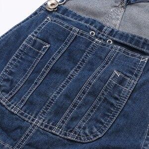 Image 4 - Sokotoo masculino plus size grande bolso solto bib macacão de trabalho casual suspensórios macacões jeans azul escuro claro