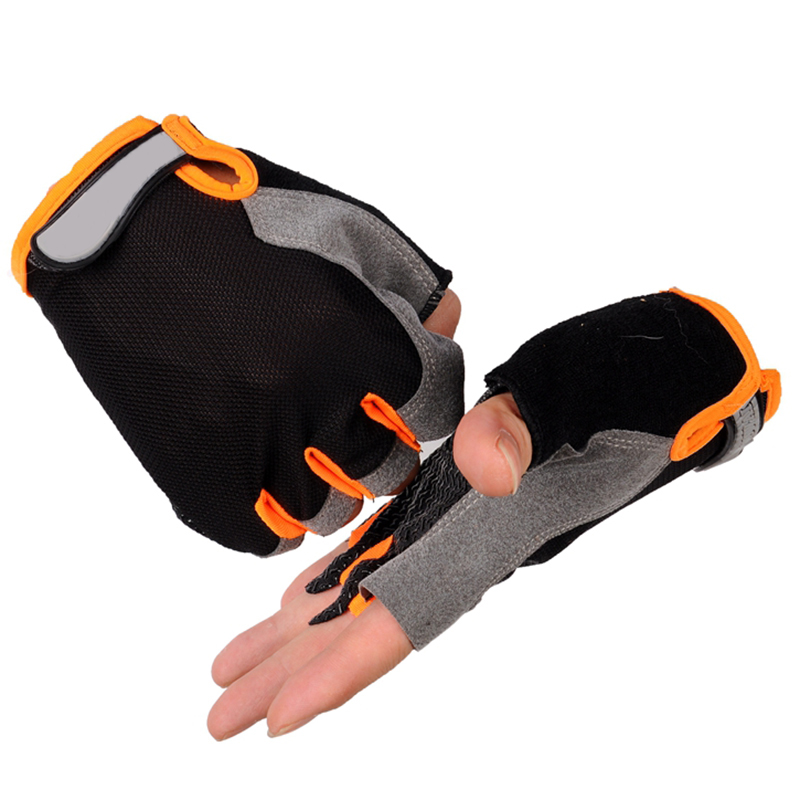 Gym Gloves Weight-Lifting Wrist-Support Half-Finger Breathable Anti-Slip Soft-Fabric