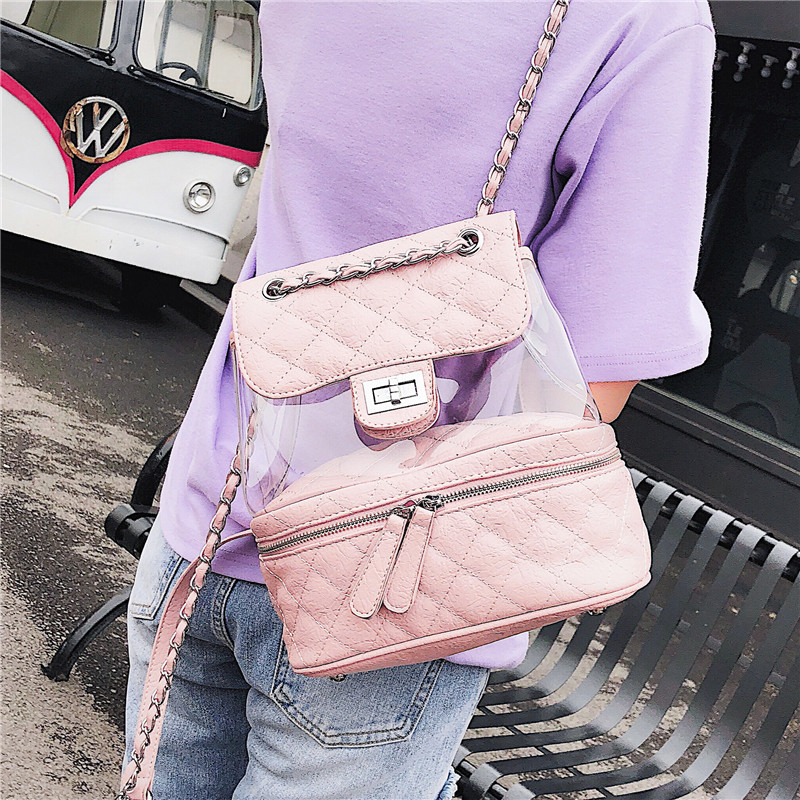Summer small bag 2018 new transparent small shoulder bag female Korean wild personality buckle Lingge small backpack fashion все цены