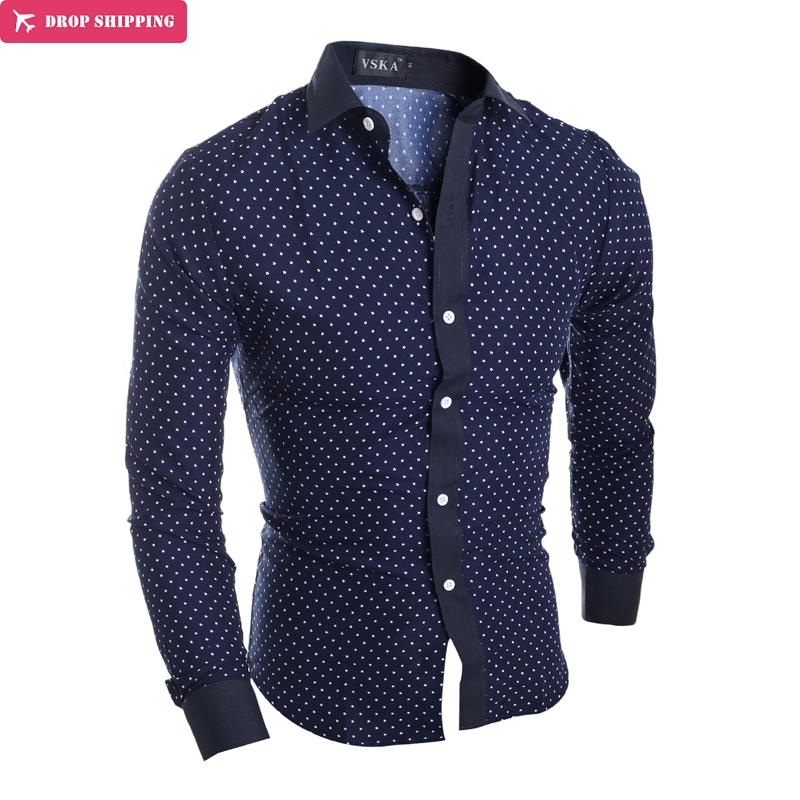 WGYJ BRAND men love mens shirts long-sleeved shirt shirt printing business casual small five-pointed star fashion style shirt