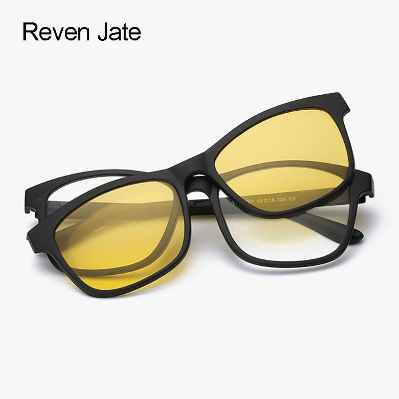 4ee781b837 Reven jate polarizadas Gafas de sol visión nocturna magnética Gafas Marcos  para hombres y mujeres espejo recubrimiento de acabado Sombrillas en Gafas  de sol ...