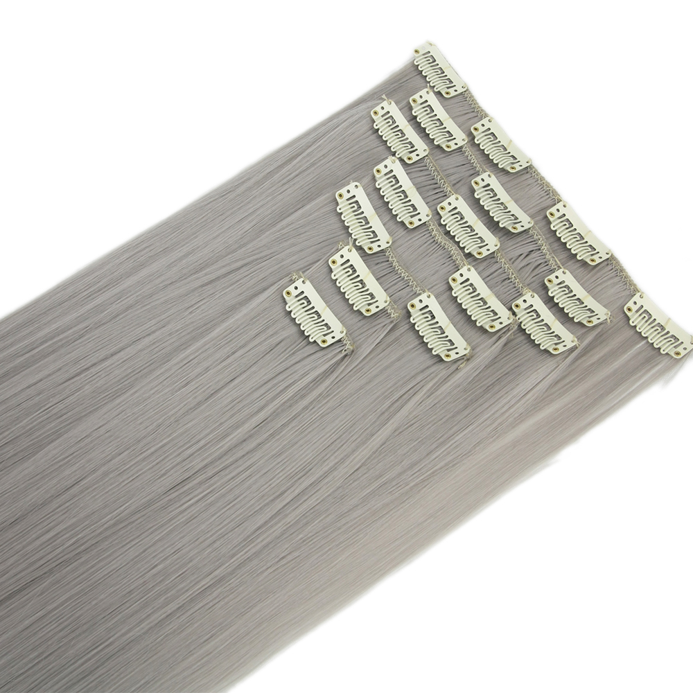 Soowee 7pcs/set Long Straight Gray Blonde Hairpieces Synthetic Hair Pad Hair Extensions Clip-in Full Head Mega Hair