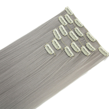 Soowee 7pcs set Long Straight Gray Blonde Hairpieces Synthetic Hair Pad Hair Extensions Clip in Full