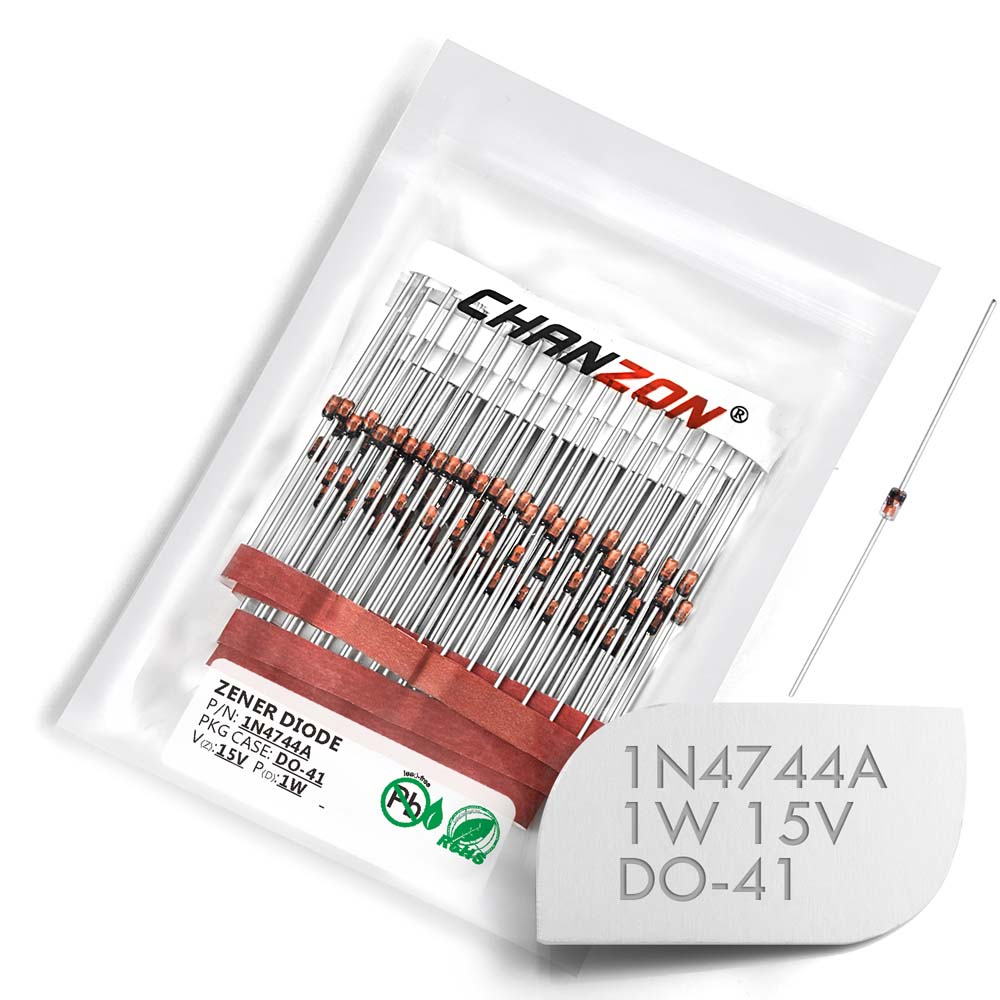 (100/500 Pcs) 1N4744A 1N4744 Power Zener Diode 1W 15V DO-41 (DO-204AL) Axial 1 Watt 15 Volt IN 1N 4744A IN4744A