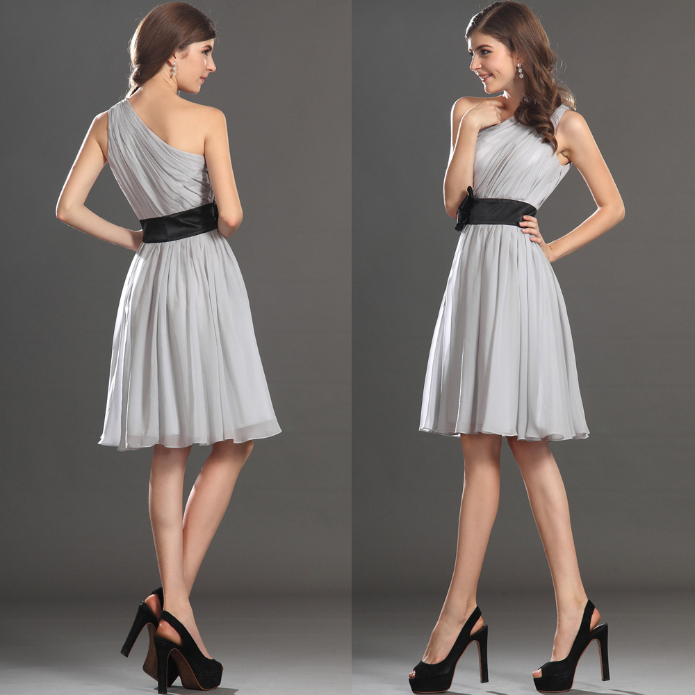 Summer One Shoulder Short Grey Silver Bridesmaid Dress For Wedding ...