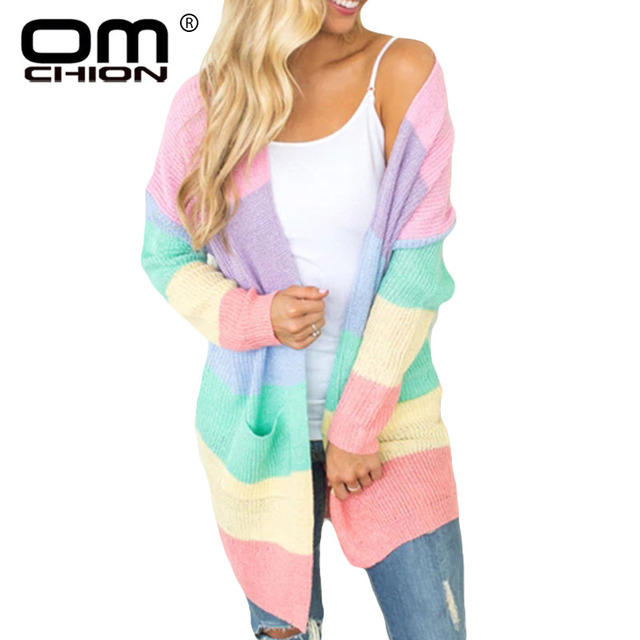 OMCHION talla grande XXXL 2018 Otoño Invierno Arco Iris largo cárdigan mujer  Casual bolsillos tejido suéter b7cb171ff894
