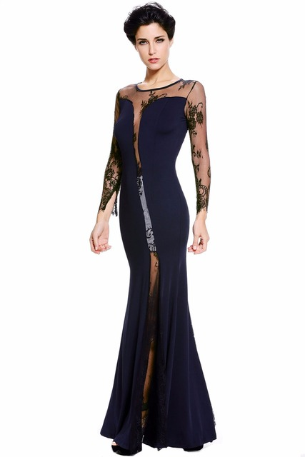 Slit See Through Dress Navy Blue Long Sleeves Lace Insert Party Gown ...