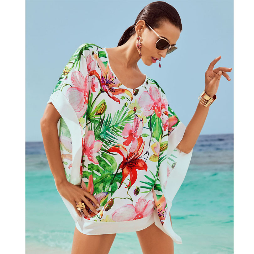 bikini cover ups Chiffon print lily flower white edge loose beach skirt bikini outside the blouse beach sunscreen women